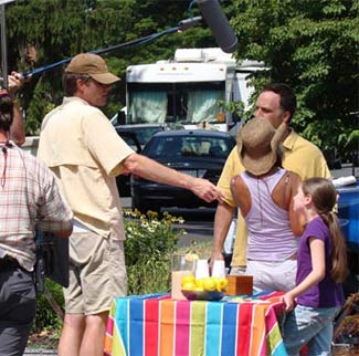 Brigid Harrington on set of the CarMax commercial