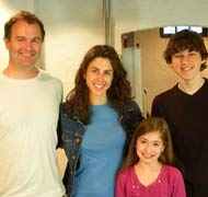 Brigid Harrington, Neil Helligers, Felicia Greenfield and Jake Goris on the set of Hasbro Nab-it